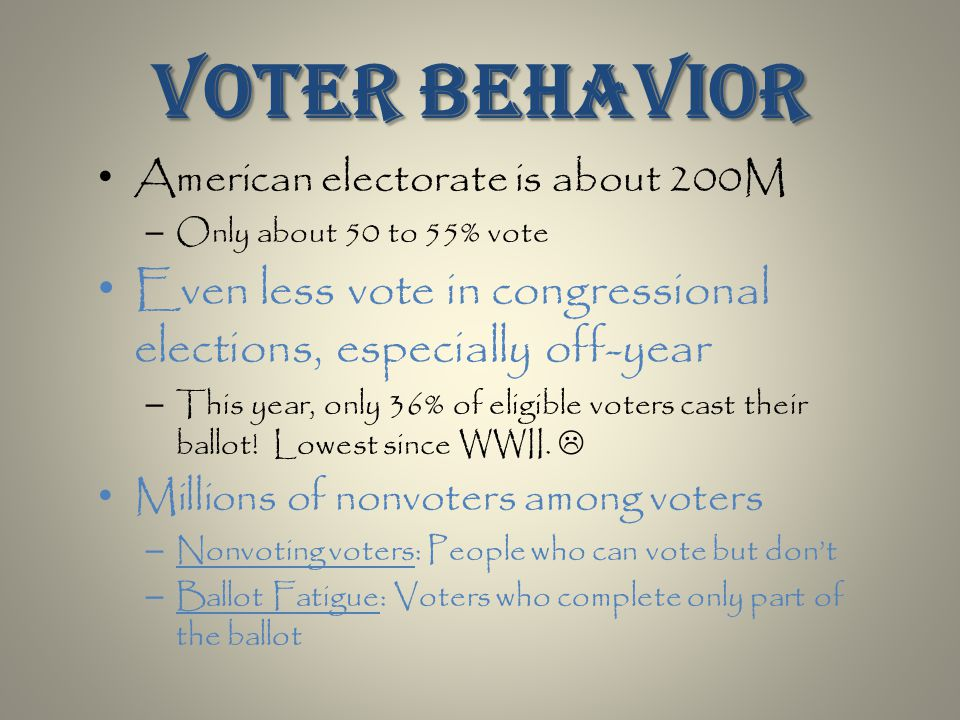 American electorate is about 200M – Only about 50 to 55% vote Even less vote in congressional elections, especially off-year – This year, only 36% of eligible voters cast their ballot.