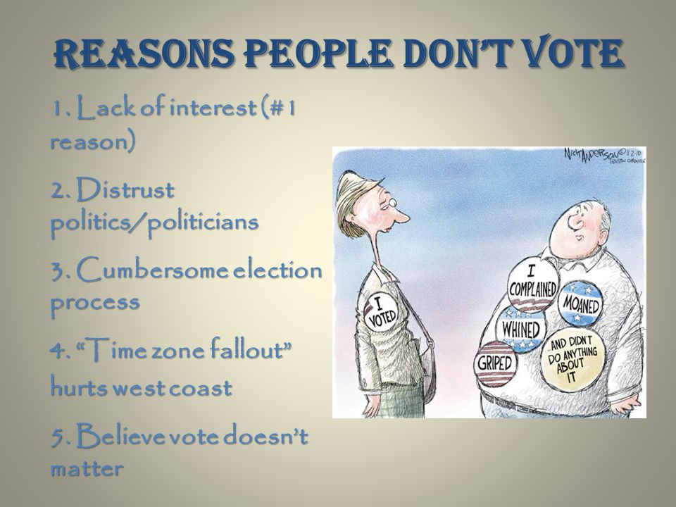 Reasons people don't vote 1. Lack of interest (#1 reason) 2.