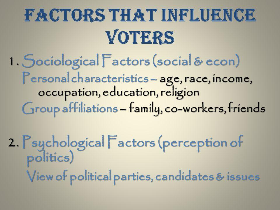 Factors that influence voters 1.