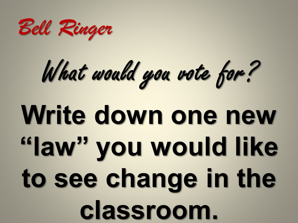 Bell Ringer Do you believe that Tuesday is a good day to vote.