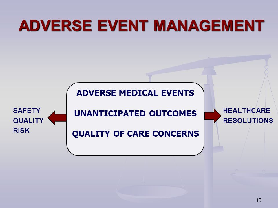 ADVERSE EVENT MANAGEMENT SAFETY HEALTHCARE QUALITY RESOLUTIONS RISK ADVERSE MEDICAL EVENTS UNANTICIPATED OUTCOMES QUALITY OF CARE CONCERNS 13