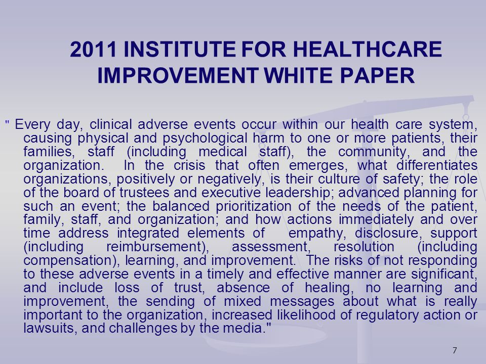 PROGRAM IMPACT/OUTCOMES Opportunity to achieve resolution for patients and providers to complex healthcare needs Skilled communicator in adversarial situations with acknowledgement of value of personal relationships, effective communication, sharing emotions Opportunity to restore trust following adverse outcomes; preservation of patient/provider relationship; lessons learned/applied from cases Organization shows integrity and respect to patients and public: promotes culture of full disclosure Provider support following unanticipated outcomes of care Providers meet professional, moral, ethical obligations via disclosure.