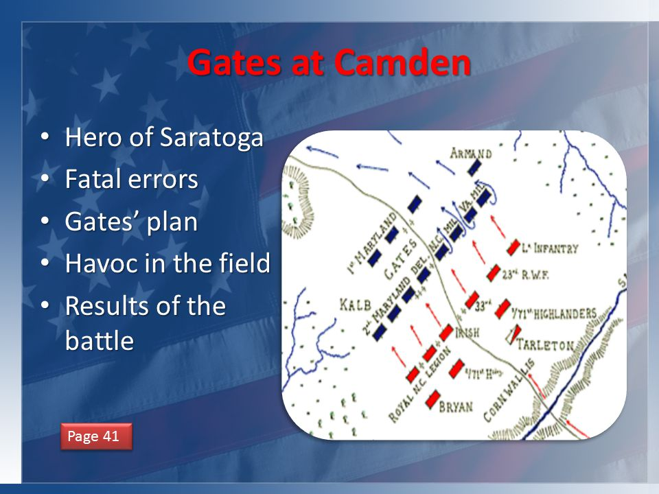 Gates at Camden Hero of Saratoga Hero of Saratoga Fatal errors Fatal errors Gates' plan Gates' plan Havoc in the field Havoc in the field Results of the battle Results of the battle Page 41