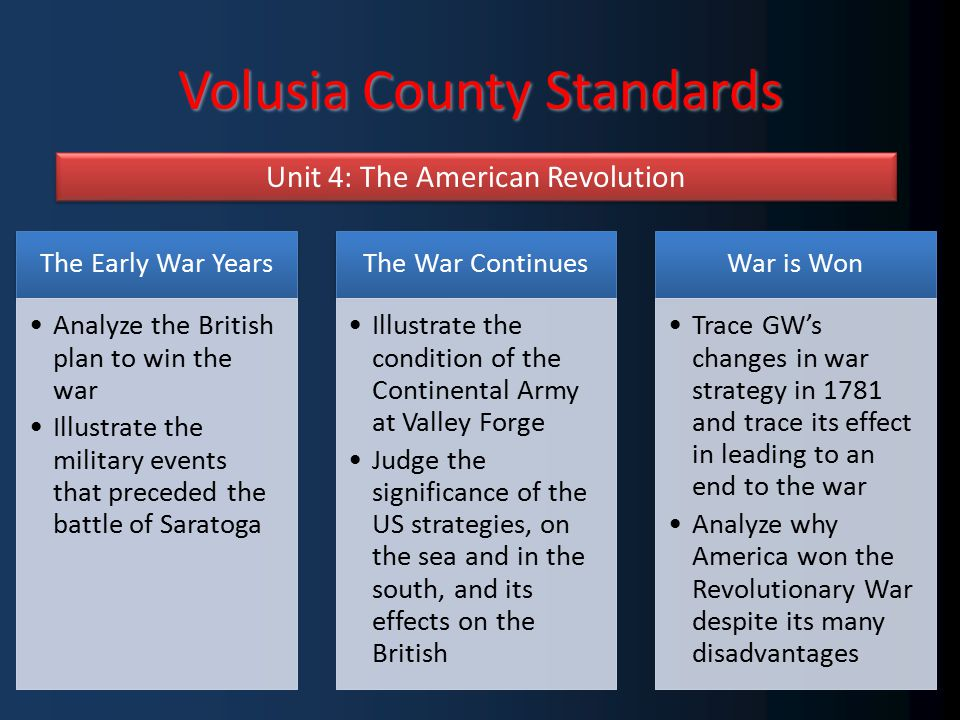 Volusia County Standards Unit 4: The American Revolution The Early War Years Analyze the British plan to win the war Illustrate the military events that preceded the battle of Saratoga The War Continues Illustrate the condition of the Continental Army at Valley Forge Judge the significance of the US strategies, on the sea and in the south, and its effects on the British War is Won Trace GW's changes in war strategy in 1781 and trace its effect in leading to an end to the war Analyze why America won the Revolutionary War despite its many disadvantages