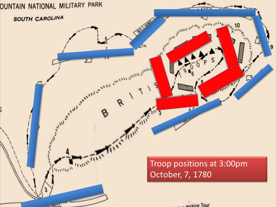 Troop positions at 3:00pm October, 7, 1780