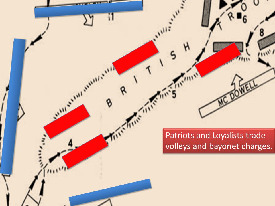 Patriots and Loyalists trade volleys and bayonet charges.