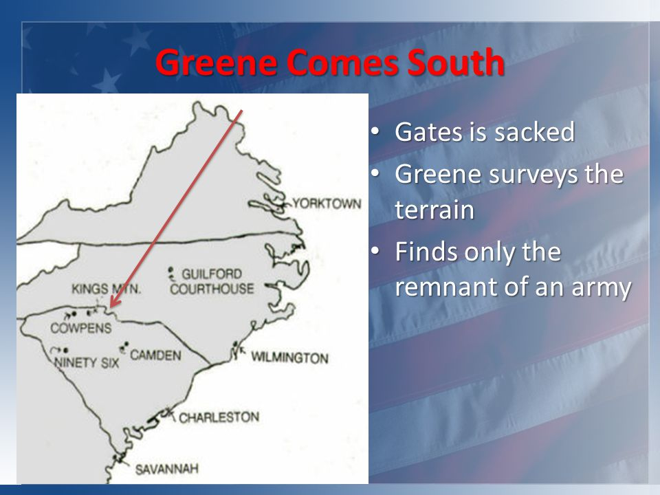 Greene Comes South Gates is sacked Gates is sacked Greene surveys the terrain Greene surveys the terrain Finds only the remnant of an army Finds only the remnant of an army