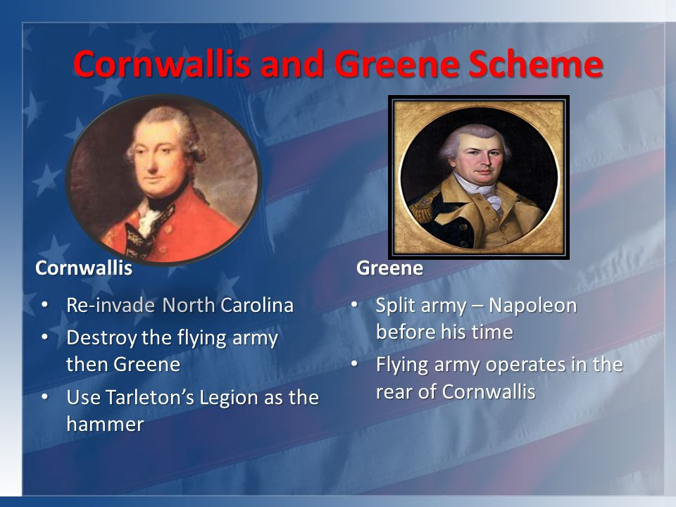 Cornwallis and Greene Scheme Cornwallis Re-invade North Carolina Re-invade North Carolina Destroy the flying army then Greene Destroy the flying army then Greene Use Tarleton's Legion as the hammer Use Tarleton's Legion as the hammer Greene Split army – Napoleon before his time Split army – Napoleon before his time Flying army operates in the rear of Cornwallis Flying army operates in the rear of Cornwallis