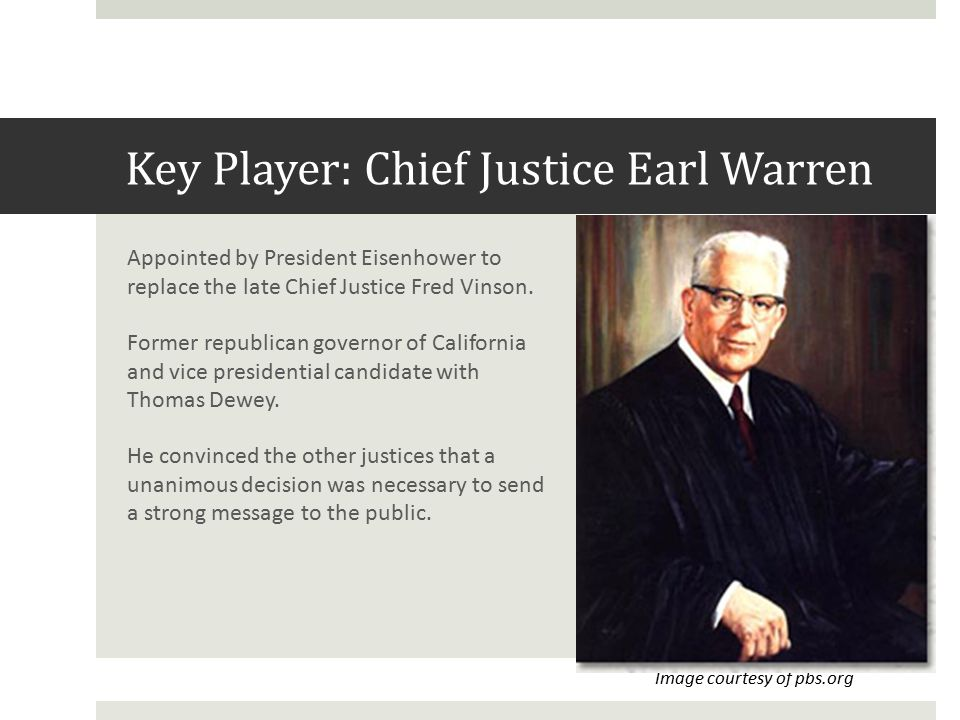 Key Player: Chief Justice Earl Warren Appointed by President Eisenhower to replace the late Chief Justice Fred Vinson.