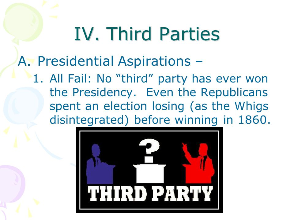 """IV. Third Parties A.Presidential Aspirations – 1.All Fail: No """"third"""" party has ever won the Presidency. Even the Republicans spent an election losing"""