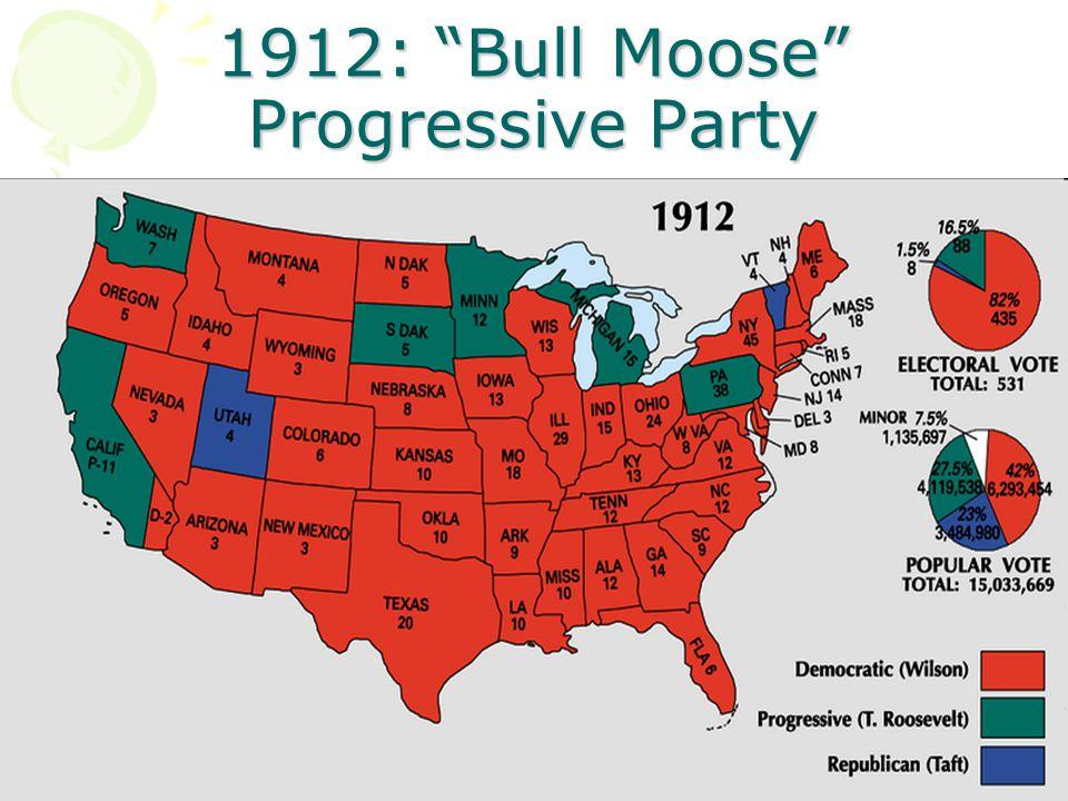 "1912: ""Bull Moose"" Progressive Party"