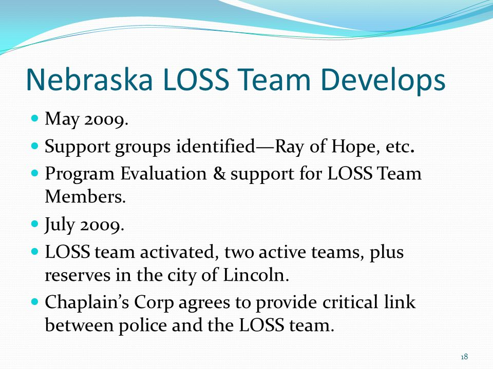 Nebraska LOSS Team Develops May 2009. Support groups identified—Ray of Hope, etc.