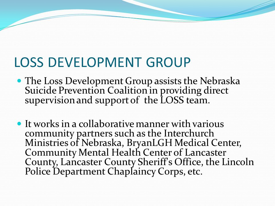 LOSS DEVELOPMENT GROUP The Loss Development Group assists the Nebraska Suicide Prevention Coalition in providing direct supervision and support of the LOSS team.