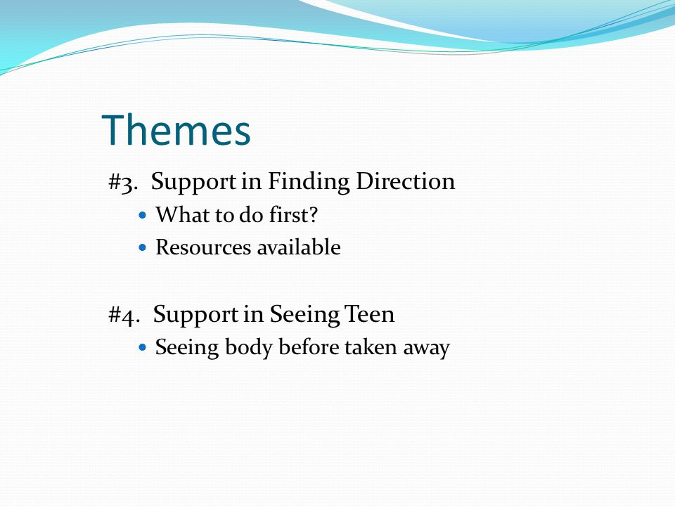 Themes #3. Support in Finding Direction What to do first.
