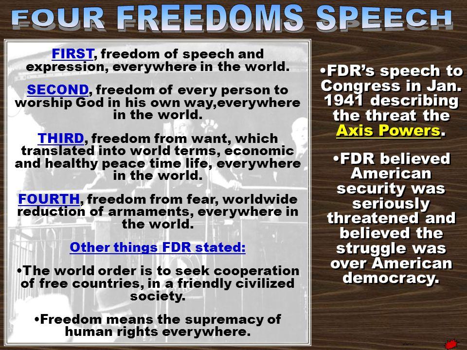 FDR's speech to Congress in Jan. 1941 describing the threat the Axis Powers.