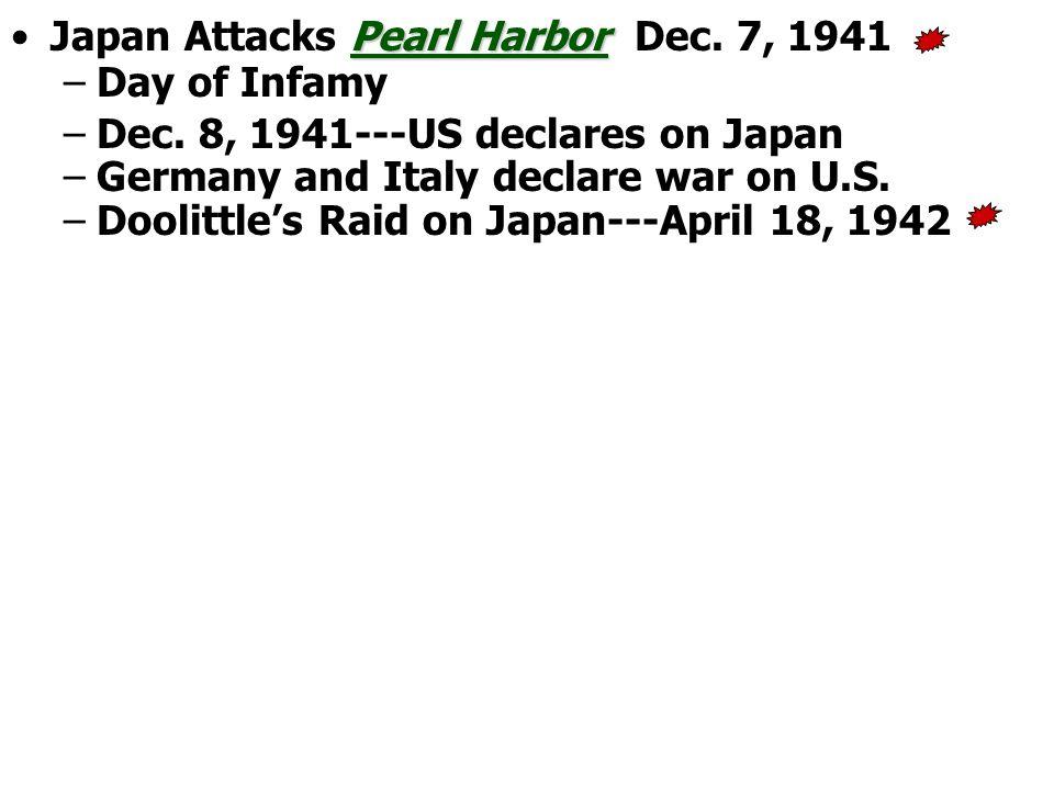 Pearl HarborJapan Attacks Pearl Harbor Dec. 7, 1941 –Day of Infamy –Dec.