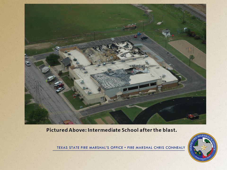 Pictured Above: Intermediate School after the blast.