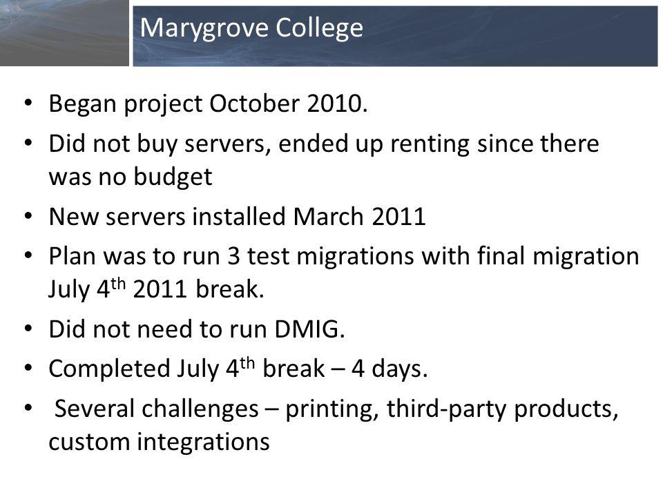 Began project October 2010.