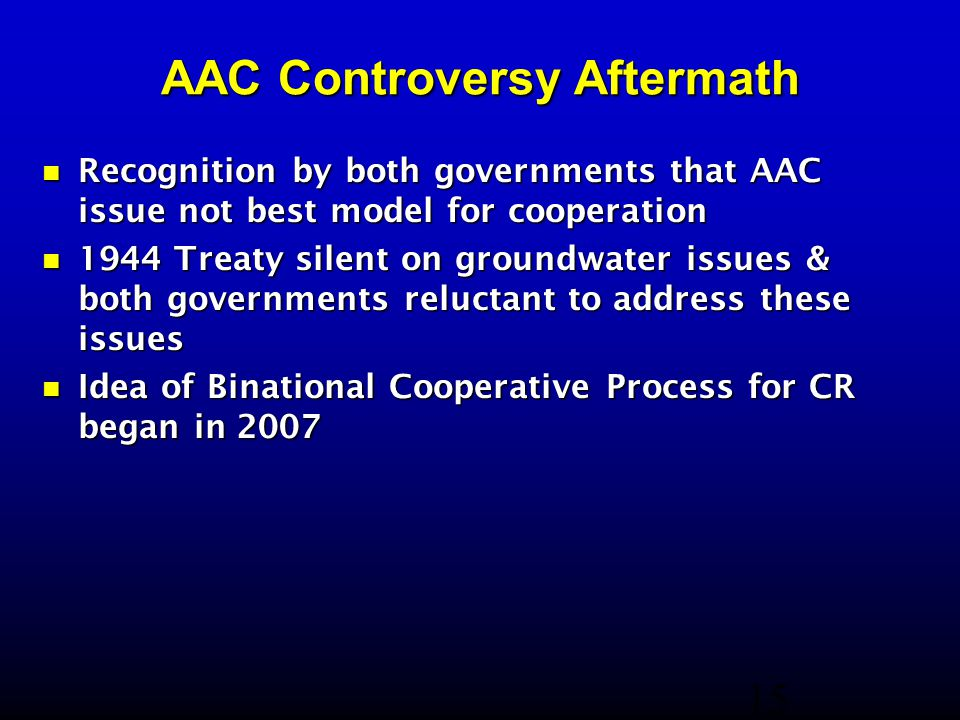 AAC Controversy Aftermath Recognition by both governments that AAC issue not best model for cooperation Recognition by both governments that AAC issue