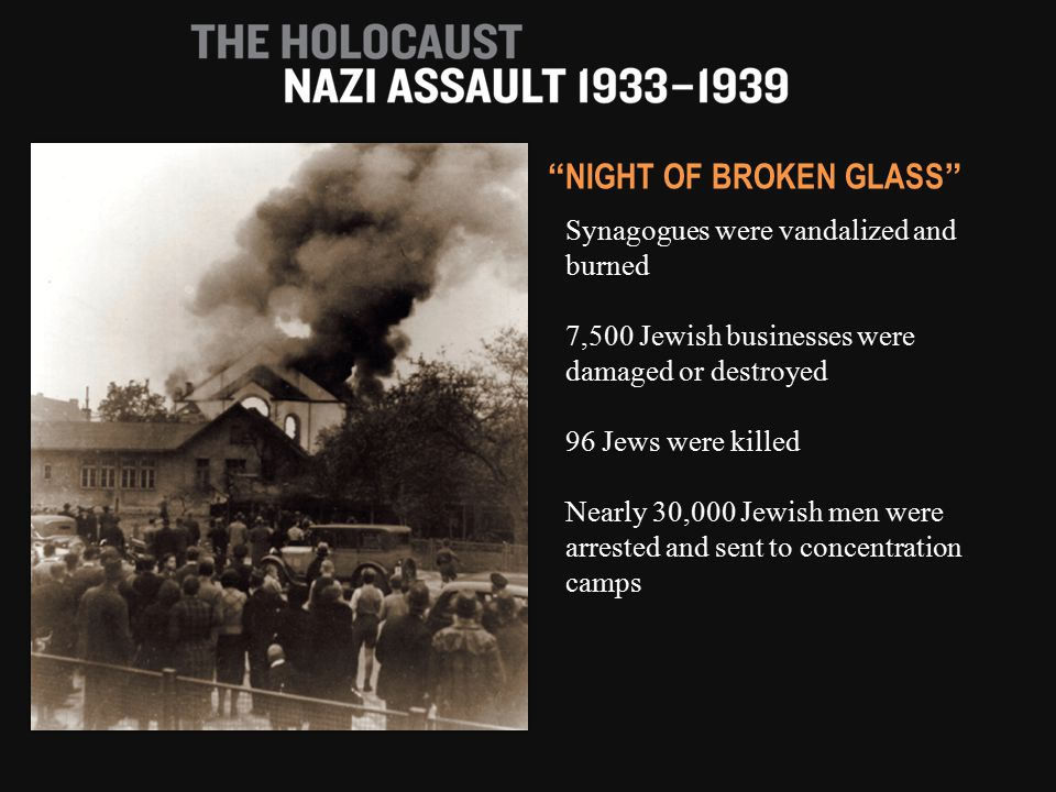 Synagogues were vandalized and burned 7,500 Jewish businesses were damaged or destroyed 96 Jews were killed Nearly 30,000 Jewish men were arrested and sent to concentration camps NIGHT OF BROKEN GLASS