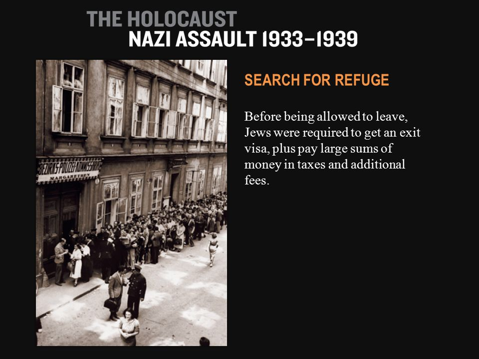 Before being allowed to leave, Jews were required to get an exit visa, plus pay large sums of money in taxes and additional fees.
