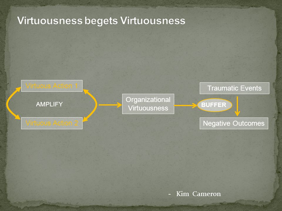 Virtuous Action 1 Virtuous Action 2 AMPLIFY Organizational Virtuousness Negative Outcomes Traumatic Events BUFFER - Kim Cameron