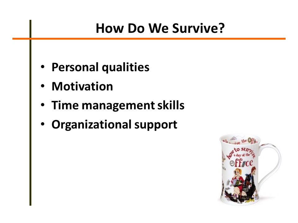 How Do We Survive Personal qualities Motivation Time management skills Organizational support