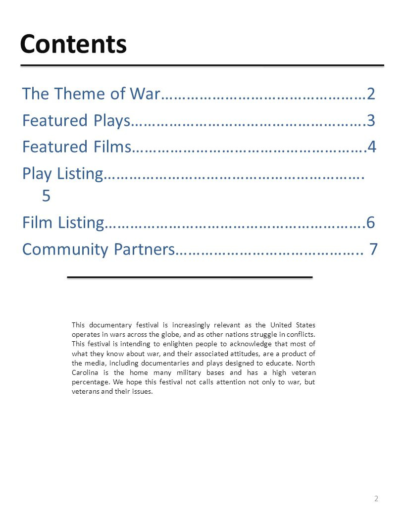 Contents The Theme of War…………………………………………2 Featured Plays……………………………………………….3 Featured Films……………………………………………….4 Play Listing…………………………………………………….
