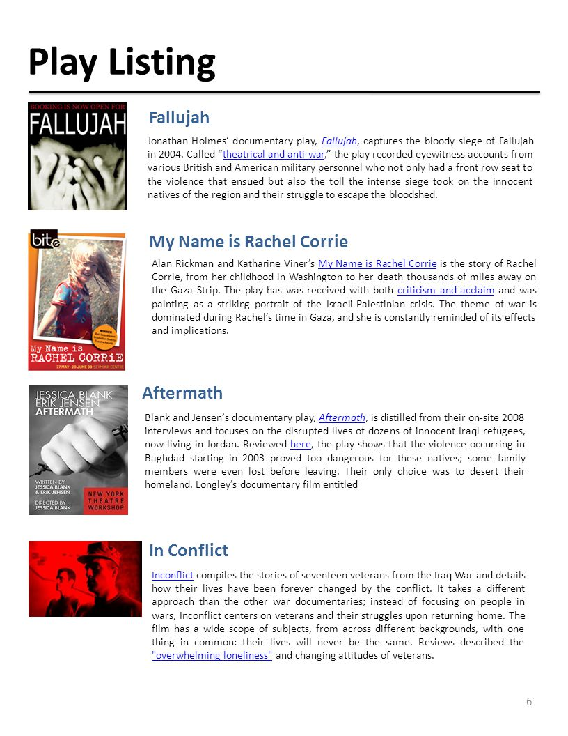 6 Play Listing Jonathan Holmes' documentary play, Fallujah, captures the bloody siege of Fallujah in 2004.