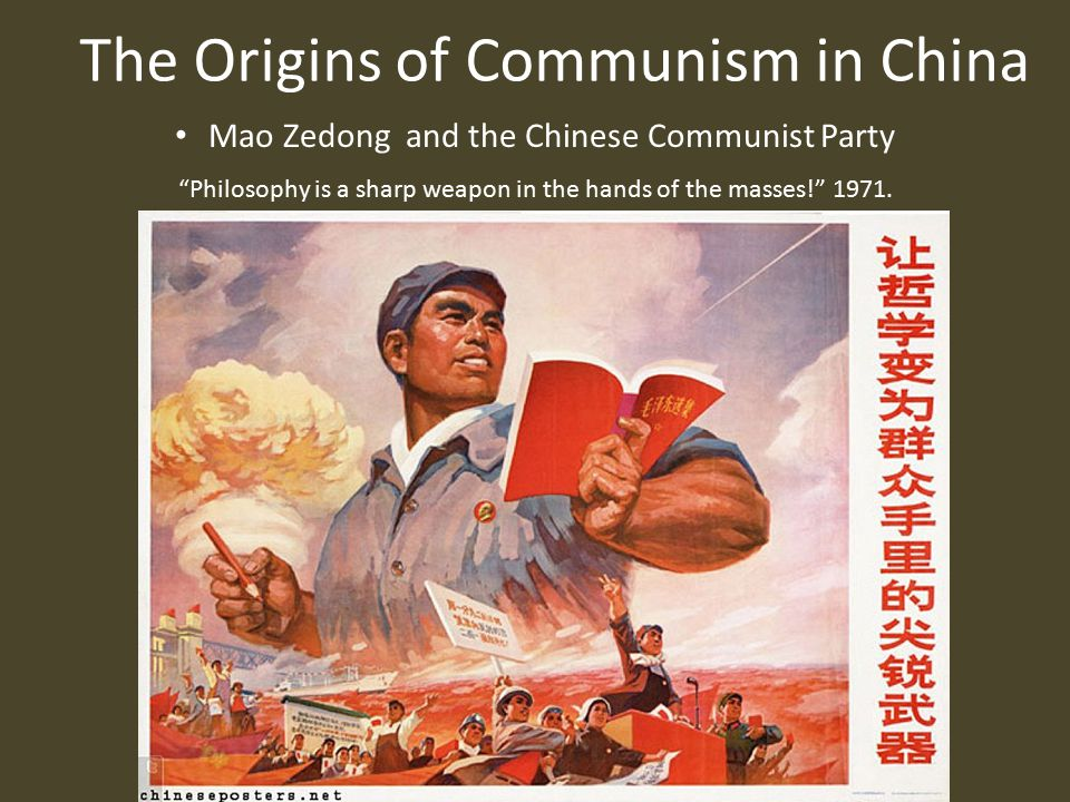 The Origins of Communism in China Communist Victory (October 1949) Mao Zedong reading proclamation establishing People's Republic of China.