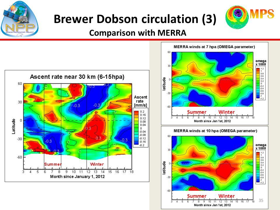 Brewer Dobson circulation (3) Comparison with MERRA 35 Summer Winter