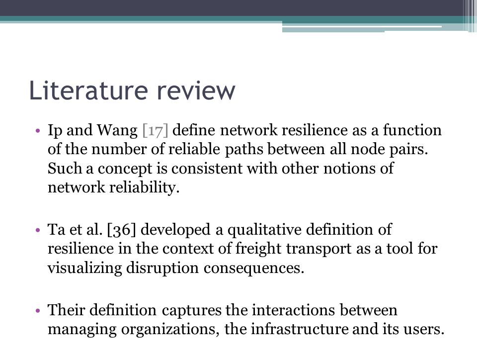 Literature review Ip and Wang [17] define network resilience as a function of the number of reliable paths between all node pairs. Such a concept is c