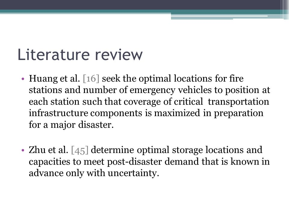 Literature review Huang et al.