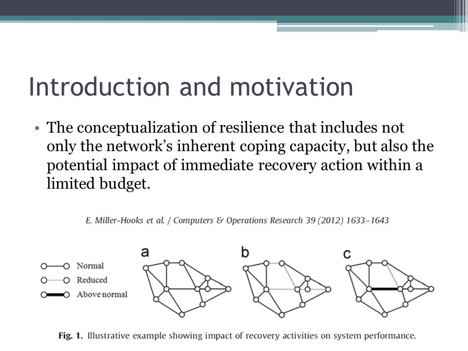 Introduction and motivation The conceptualization of resilience that includes not only the network's inherent coping capacity, but also the potential