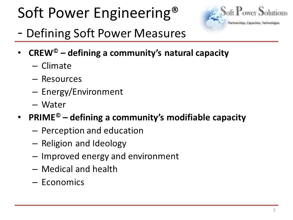 Soft Power Engineering® - Defining Soft Power Measures CREW © – defining a community's natural capacity – Climate – Resources – Energy/Environment – W