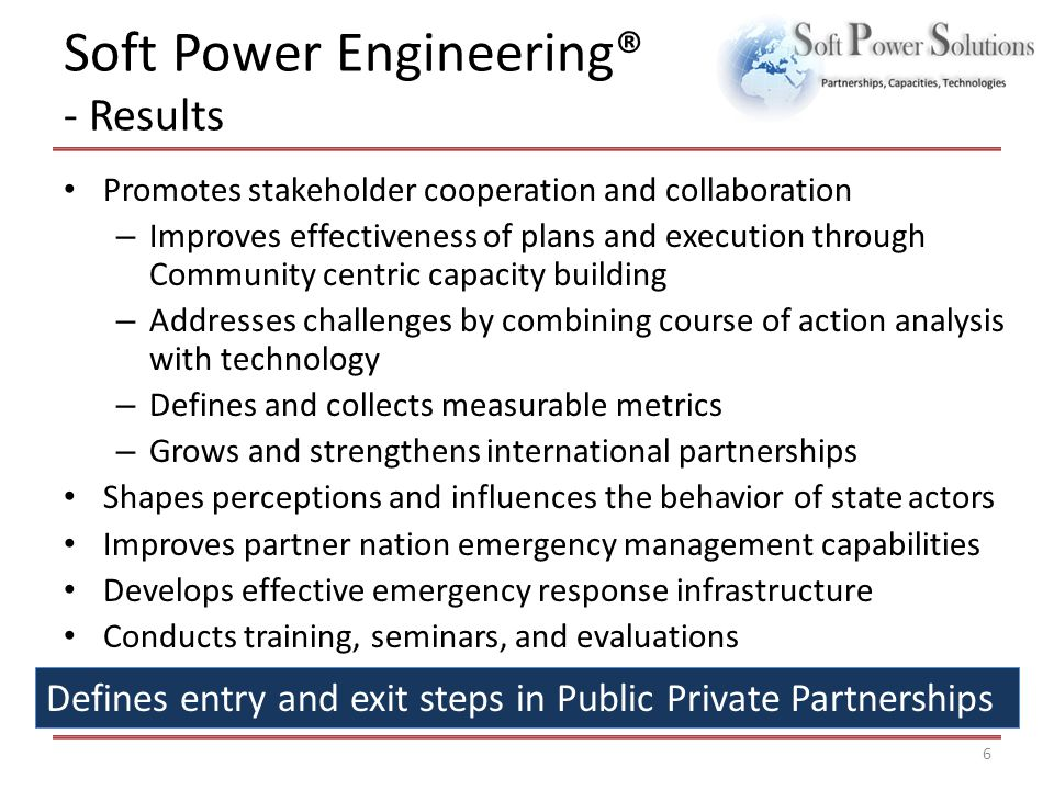 Soft Power Engineering® - Results Promotes stakeholder cooperation and collaboration – Improves effectiveness of plans and execution through Community