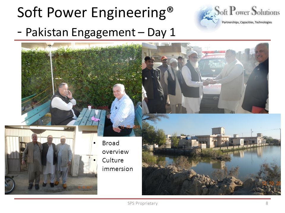Soft Power Engineering® - Pakistan Engagement: Day 2-5 SPS Proprietary9 Working with locals Understanding their needs Disaster relief plans Meeting with the universities, religious leaders and businessmen