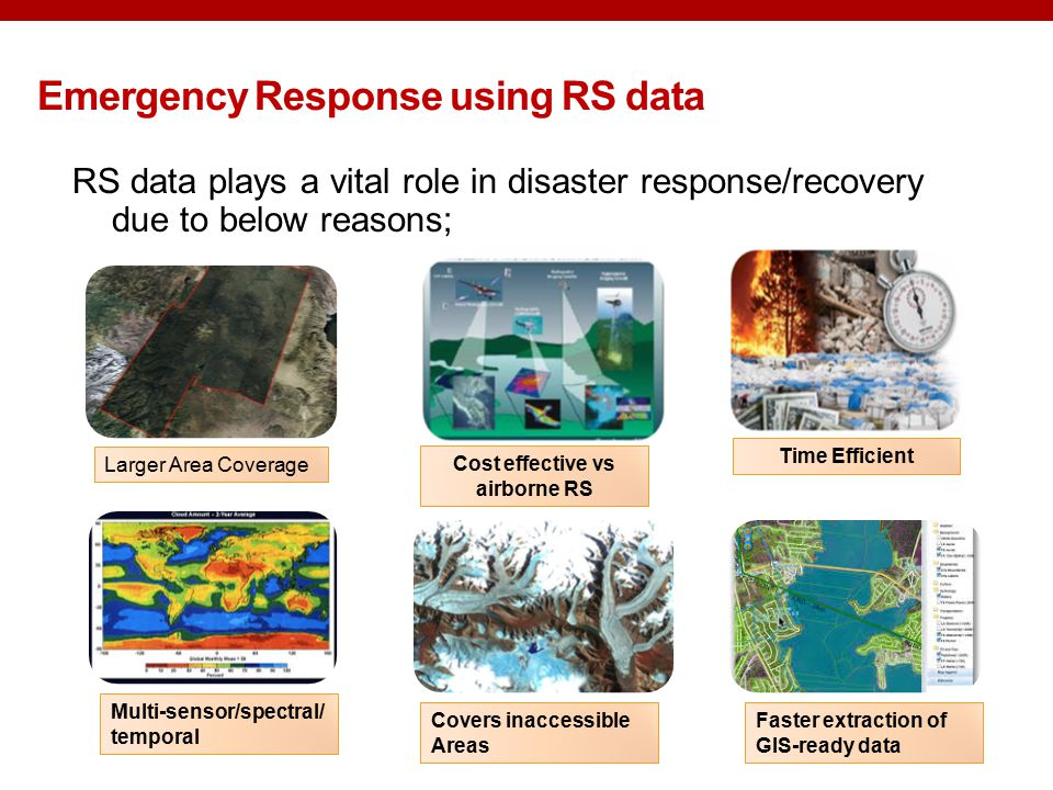 RS data plays a vital role in disaster response/recovery due to below reasons; Emergency Response using RS data Larger Area Coverage Cost effective vs airborne RS Time Efficient Multi-sensor/spectral/ temporal Covers inaccessible Areas Faster extraction of GIS-ready data