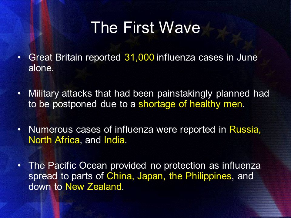 The First Wave Great Britain reported 31,000 influenza cases in June alone.