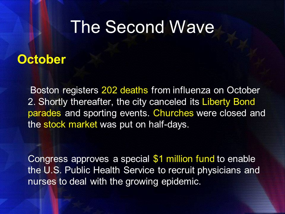 The Second Wave October Boston registers 202 deaths from influenza on October 2.