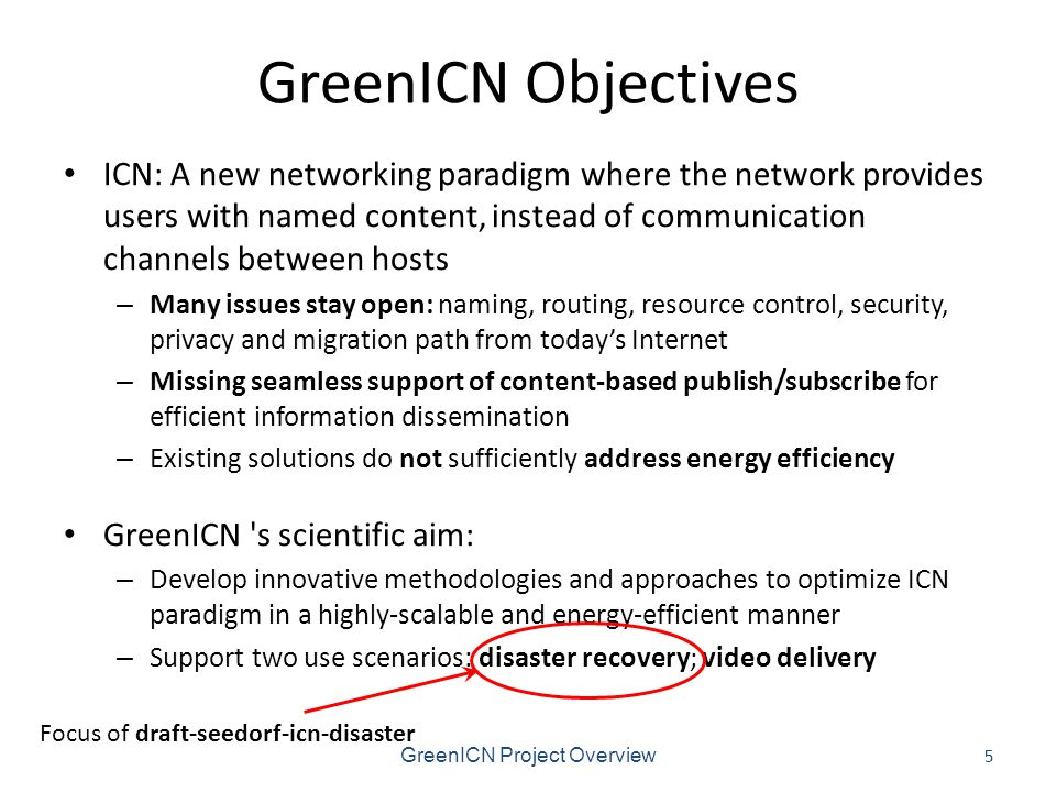 GreenICN Objectives ICN: A new networking paradigm where the network provides users with named content, instead of communication channels between hosts – Many issues stay open: naming, routing, resource control, security, privacy and migration path from today's Internet – Missing seamless support of content-based publish/subscribe for efficient information dissemination – Existing solutions do not sufficiently address energy efficiency GreenICN s scientific aim: – Develop innovative methodologies and approaches to optimize ICN paradigm in a highly-scalable and energy-efficient manner – Support two use scenarios: disaster recovery; video delivery GreenICN Project Overview 5 Focus of draft-seedorf-icn-disaster