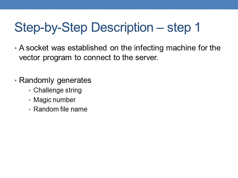 Step-by-Step Description – step 1 A socket was established on the infecting machine for the vector program to connect to the server. Randomly generate