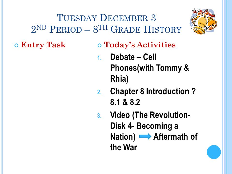 T UESDAY D ECEMBER 3 2 ND P ERIOD – 8 TH G RADE H ISTORY Entry TaskToday's Activities 1.