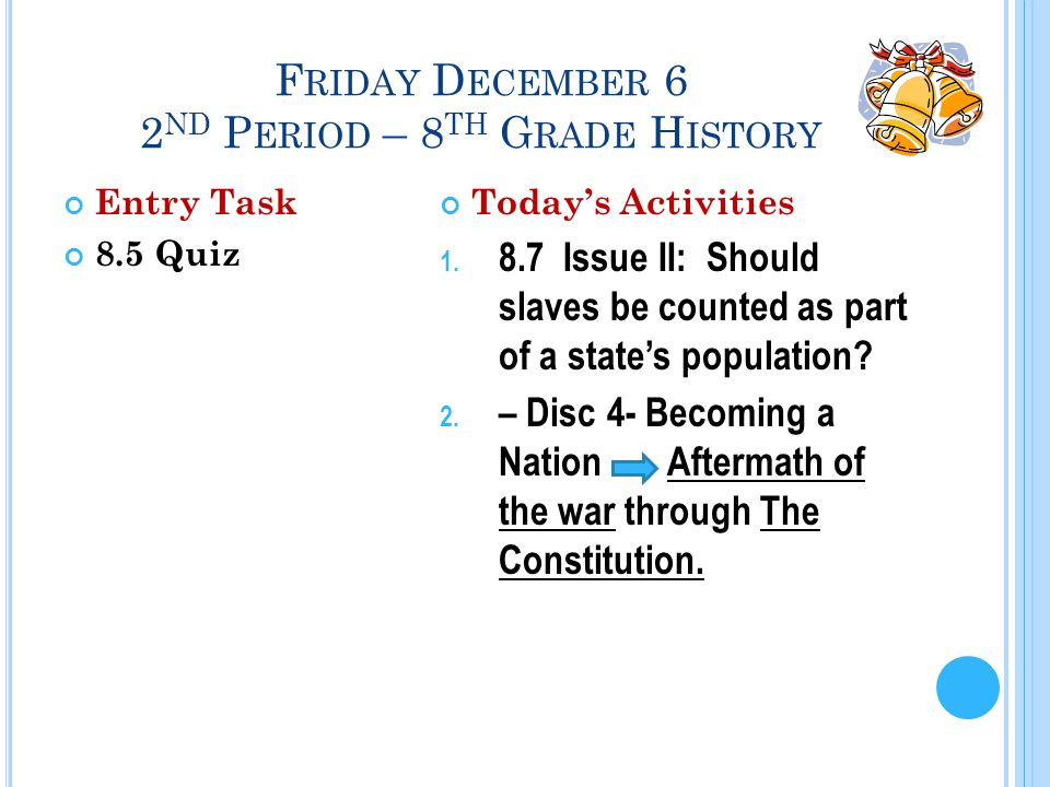 F RIDAY D ECEMBER 6 2 ND P ERIOD – 8 TH G RADE H ISTORY Entry Task 8.5 Quiz Today's Activities 1.