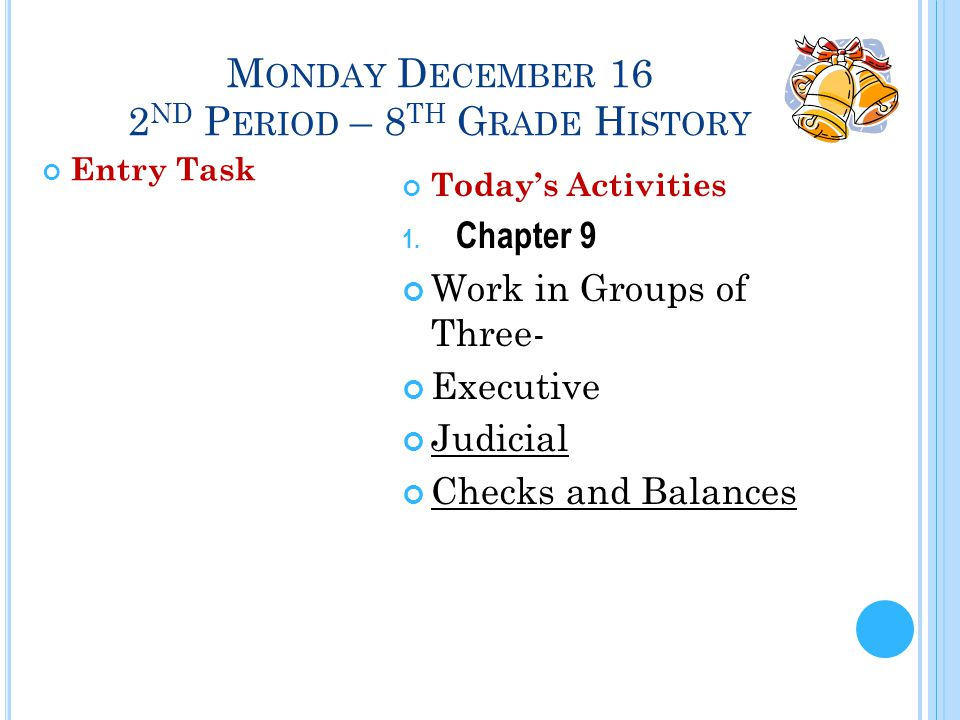 M ONDAY D ECEMBER 16 2 ND P ERIOD – 8 TH G RADE H ISTORY Entry Task Today's Activities 1.