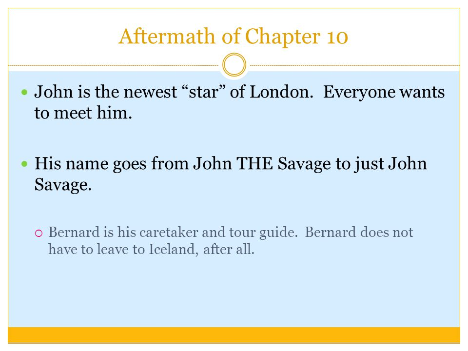 Aftermath of Chapter 10 John is the newest star of London.
