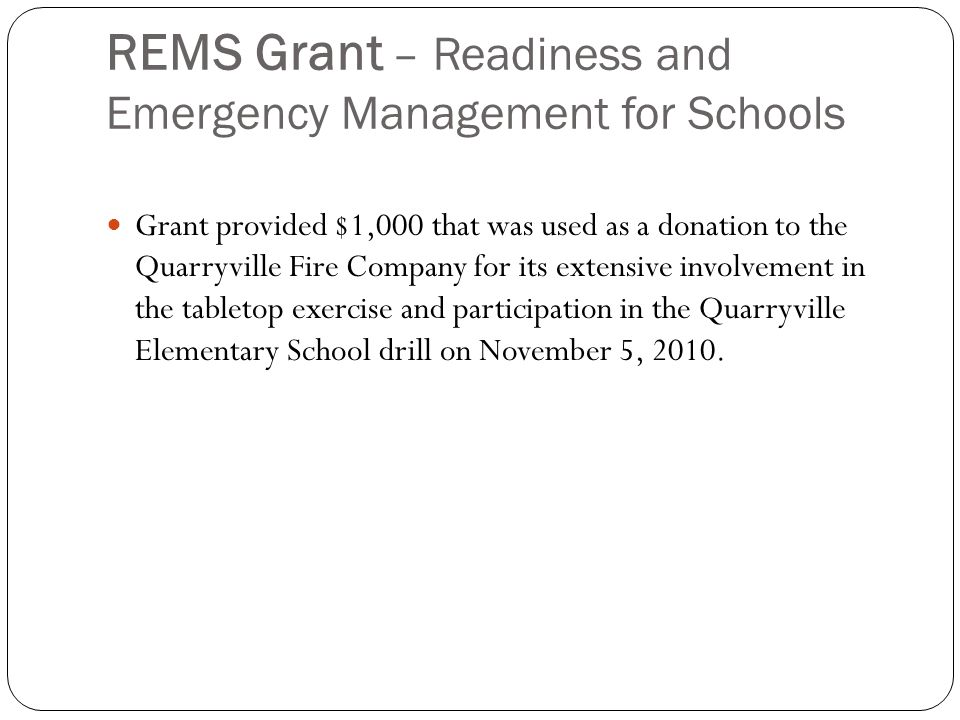 REMS Grant – Readiness and Emergency Management for Schools 1.