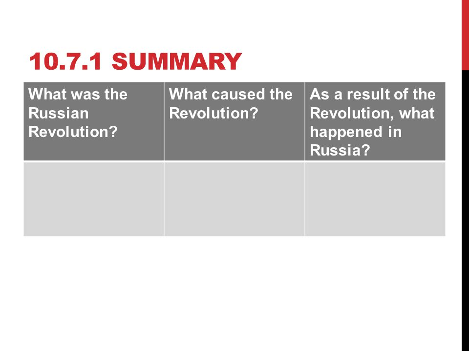 10.7.1 SUMMARY What was the Russian Revolution? What caused the Revolution? As a result of the Revolution, what happened in Russia?