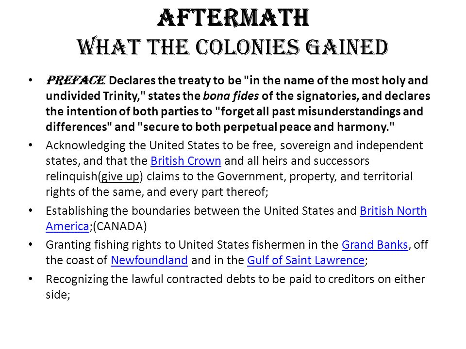 AFTERMATH What the Colonies gained Preface.