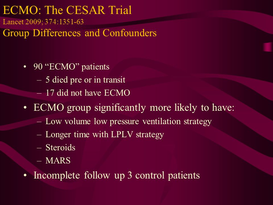 "ECMO: The CESAR Trial Lancet 2009; 374:1351-63 Group Differences and Confounders 90 ""ECMO"" patients –5 died pre or in transit –17 did not have ECMO EC"